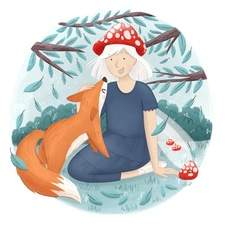 Personal work of a girl and her new fox friend.