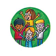 Spot art work of children singing and cheering