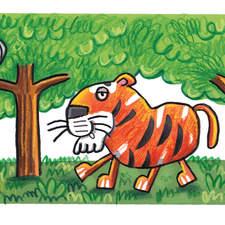 Lion and owl spot art work.