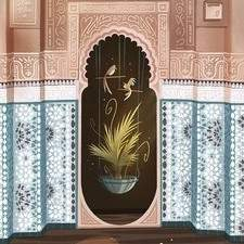 architecture, moorish, doorway, door, interior, house, building, plants, birds, design