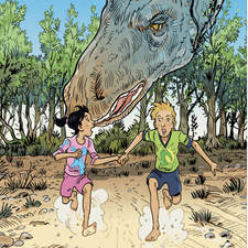 The adventures of two children in the time of dinosaurs.