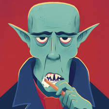 Nosferatu cleaning his teeth.