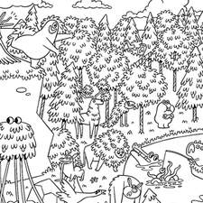 The Werewallaby- double page illustration for 'The Creature Compendium' - A 'Where's Wally' style illustration feature Walla the Werewallaby.