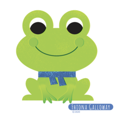 frog with scarf