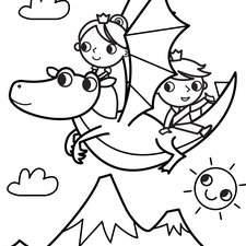 Princess and Prince on Flying Dragon
