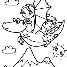 1.Dragon Flying With Prince And Princess