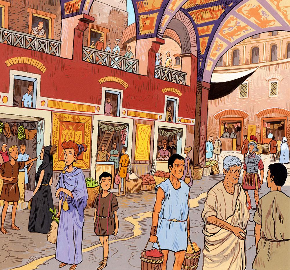 Gouache color illustration about the Romans