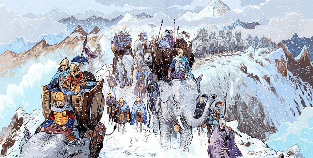 Gouache color illustration about the history of Hannibal and his elephants