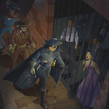 Inner illustration for spanish learning book. El Zorro