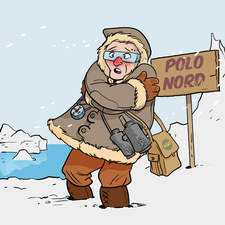 Educational illustration- Explorer in the north pole