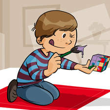 Educational illustration- boy painting for fun