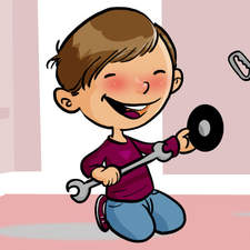 Educational illustration-A child plays the mechanic