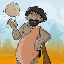 Educational illustration-A caveman playing rockball