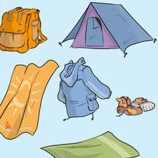 Educational illustration- camping equipment