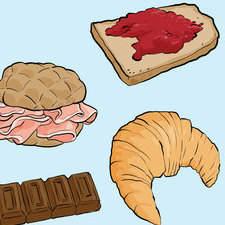 Educational illustration.Everyday activity, breakfast