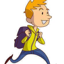 Educational illustration- child running to school