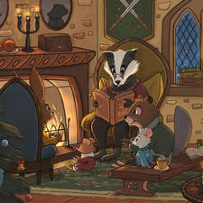 Cozy evening by the fireplace in the castle