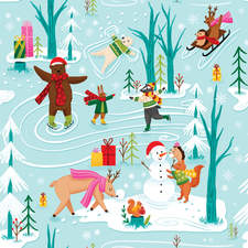 Winter Wonderland Print - Print for Christmas Wrapping Paper.