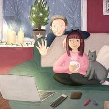 Winter Comforts - Family. A competition Entry for Picture Hooks. A digital illustration of a family at home talking to family and friends on a video call.
