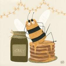 The bee enjoying his breakfast