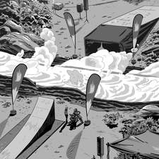 Jett Ryder (Northstar Publications) book 3 interior artwork. All interior artwork on this series is greyscale flat graphic linework with a fun comic book feel.