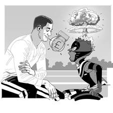 Interior artwork from Ade Adepitan's Cyborg Cat series (Piccadilly Press / Bonnier Books). All interior artwork is graphic flat tone greyscale with a fun, funny, comic book pop art feel.