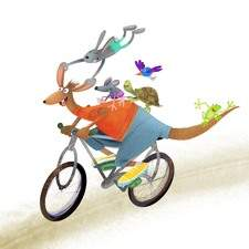 A funy Kangaroo riding  an old  bike with his friends and having fun. Illustration done with  procreate app