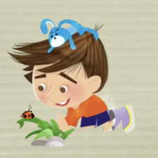 Little boy with a ladybug. There is an animation for this one in this website