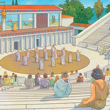 Ancient Greek Theatre and Temple - Educational illustrations