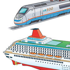 Means of transport - Educational illustrations