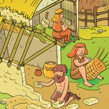Neolithic village - Educational illustration