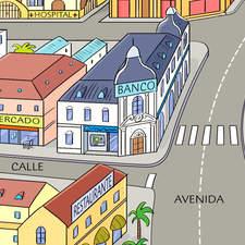 Spanish city - Educational illustration