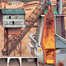 The blast furnace - Educational illustration