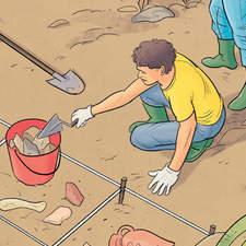 Archeologists - Educational illustration