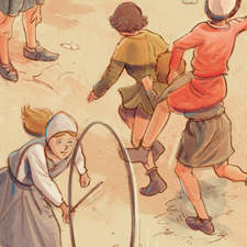 Medieval children playing - Educational illustration