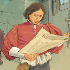 Young Michelangelo apprenticed to the Ghirlandaio painting workshop - Educational illustration