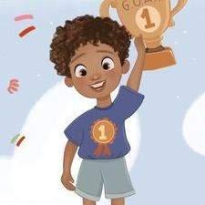 Champion! Little boy pursuing his dreams