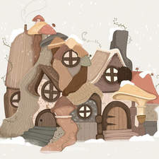 Winter village - This is the home to all the small imaginary people that live in the woods, they hide in mushrooms and blueberries and if you look close enough this is what you will see.