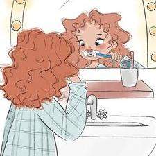 Edie brushing her teeth - from the book Bobby Bumblebee