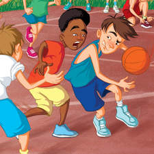 Kids in the heat of sport.   [young adult book illustration]