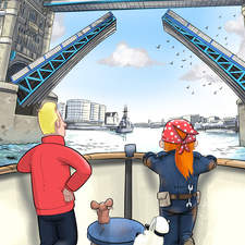"""""""Approaching Tower Bridge"""". Taken from book 3 from the Adventures of Captain Bobo series. written by R.D.Dikstra & Kay Hutchison."""