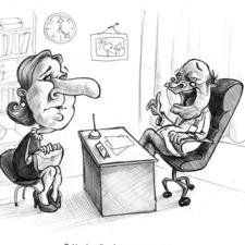 Cartoon with mono pencil.