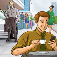 Coffee break. Editorial illustration.