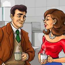 Couple discussing in the kitchen. Editorial illustration.