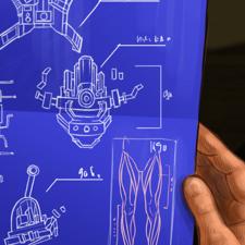 Blueprint of a robotic leg. Book illustration.