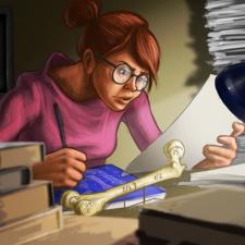 Girl is working on robotic leg design. Book illustration.