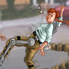 First try with initial version of a future robotic leg. Book illustration.