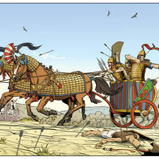 A Hittite war chariot attacking Egyptian soldiers.