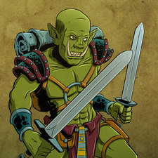 Orc warrior character art for Orctions board game from Quirkative