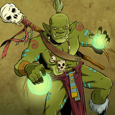 Orc shaman  character art for Orctions board game from Quirkative